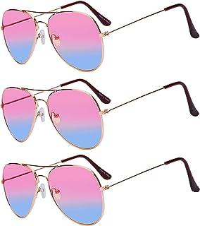 3 أزواج من نظارات افياتور الكلاسيكية بلونين عدسات ذهبية إطار معدني
