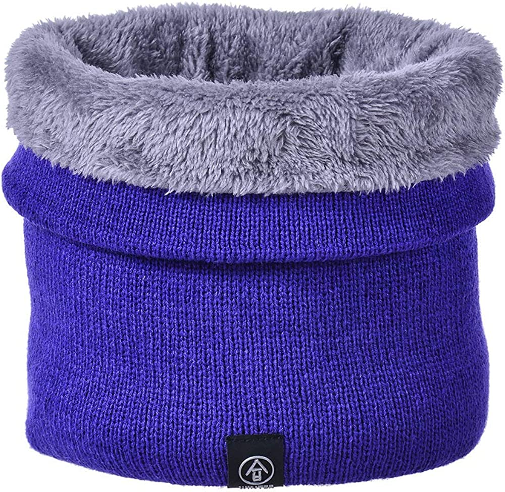 MonicaSun Winter Neck Warmer Double-Layer Thick Knitted Neck Gaiter Soft Fleece Lined Circle Scarf