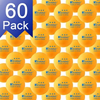 KEVENZ 60-Pack 3-Star 40+ Table Tennis Balls,Advanced Ping Pong Ball (Orange, White)