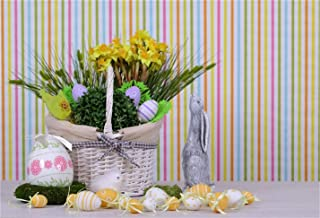 CSFOTO 6x4ft Background Easter Eggs Wheat in Basket Gray Rabbit Seedling Photography Backdrop Color Stripes Wall Jesus Resurrection Spring Holiday Home Decor Photo Studio Props Polyester Wallpaper