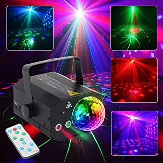 CHINLY Laser Lights LED Projector RGB Stage Rotating Lights Strobe Light Sound Activated Lights for Stage Performance Dance Party Club Birthday Karaoke(Background Version) (Disco Ball Version)