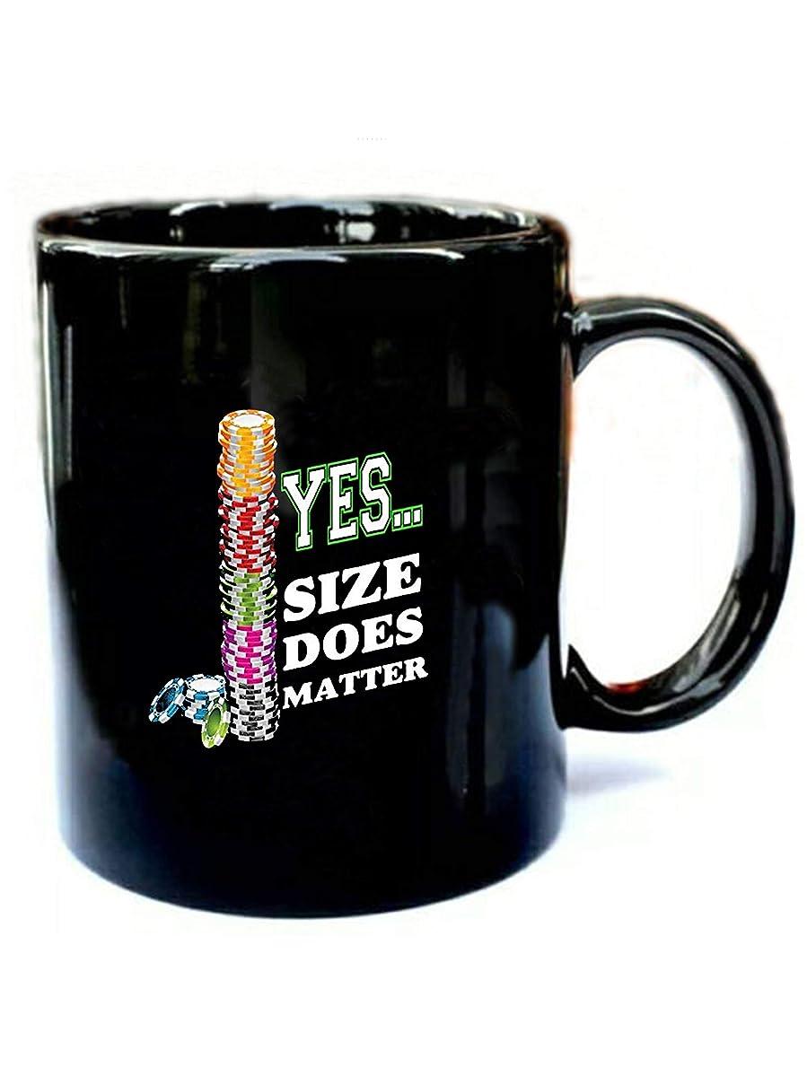 Yes Size Does Matter Poker -Funny Gift Black 11oz Ceramic Coffee Mug