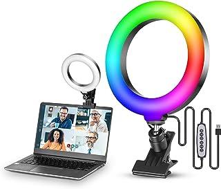 VIJIM Video Conferentie Verlichting Kit, 6.3 inch Selfie RGB Ring Licht voor Monitor Clip On, Laptop Circle Lamp voor Comp...