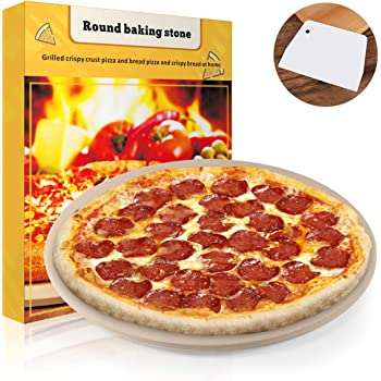 """Pizza Stone, 15"""" Round Engineered Tuff Cordierite Durable Baking Stones for Ovens & Grill & BBQ, Stone Oven Round Pizza Stone"""