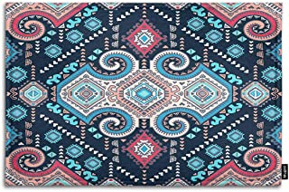 Mugod Boho Ornament Indoor/Outdoor Doormat Tribal Mexican Vintage Ethnic Seamless Pattern Funny Doormats Bathroom Kitchen Decor Area Rug Non Slip Entrance Door Floor Mats, 18