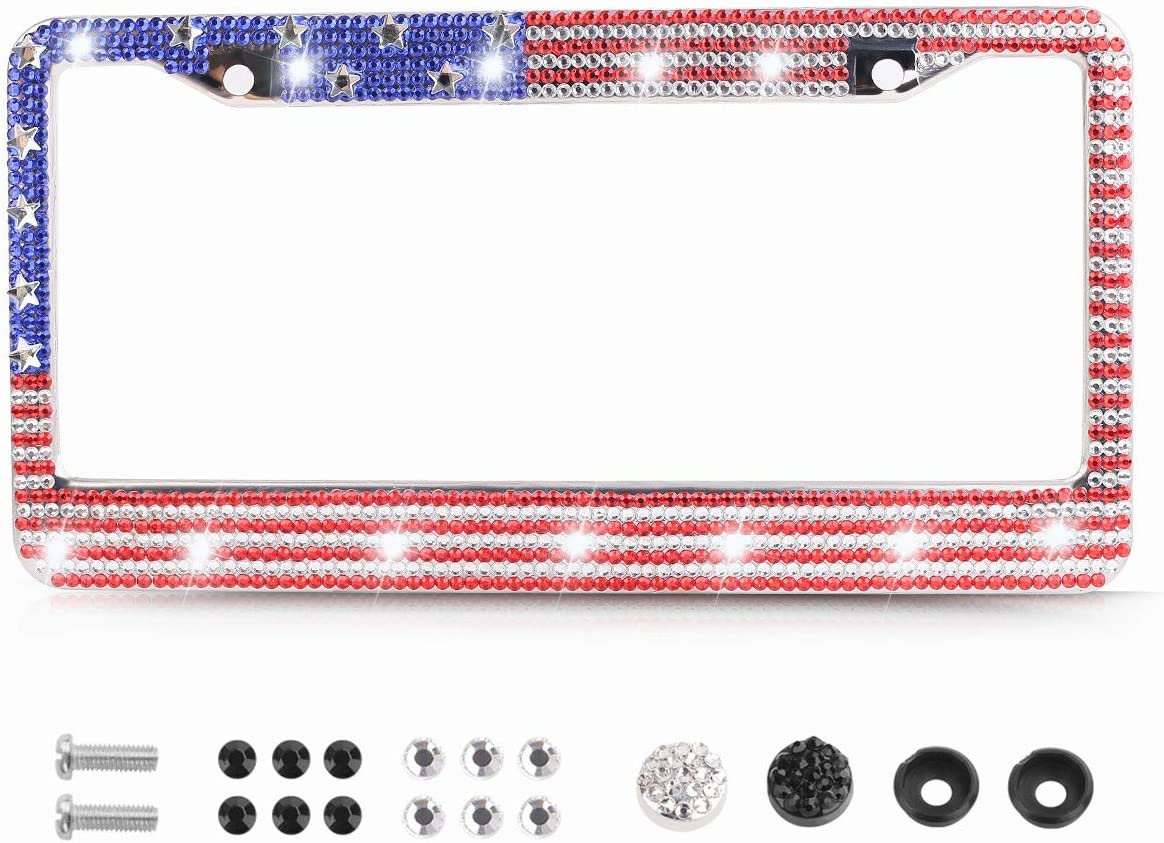 NOCITUN Bling License Plate Frame Rhinestone Red-Blue line USA Flag License Plate Frames for Women//Men Personalized Stainless Steel Car Plate Frame 2 Hole Anti-Theft Holder