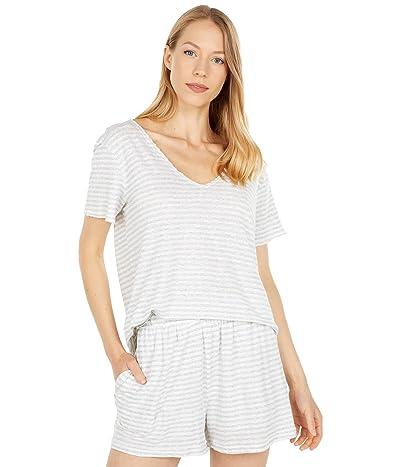 Mod-o-doc Cotton Linen Stripe Short Sleeve Raw Edge V-Neck Tee
