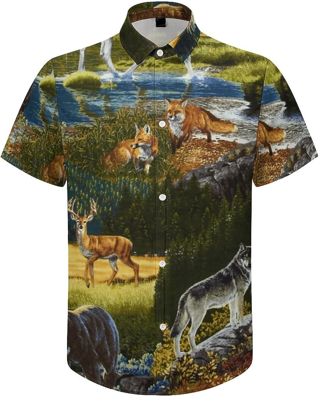 Men's Regular-Fit Short-Sleeve Printed Party Holiday Shirt Mountain Animals Bear Deer