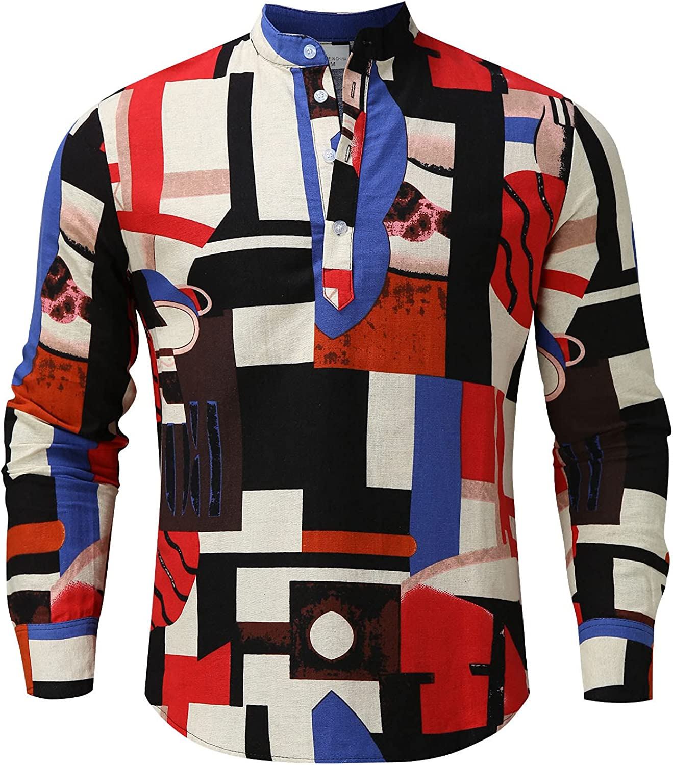 Huangse Mens Abstract Blocks Graphic Tee Shirts Printed Polo Shirt Long Sleeve Button Down V Neck Contrast Color Pullover Top