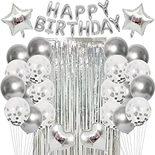 Silver Birthday Party Decoration Happy Birthday Balloons Birthday Decoration Balloons Birthday Banner Party Decoration Bal...