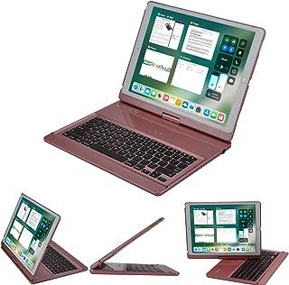 LENRICH iPad pro 12.9 Keyboard case 2017 2015,360 Rotatable Wireless Keyboard Smart Folio 180 Swivel Stand Hard Shell Cover Auto Sleep/Wake up Rose Gold