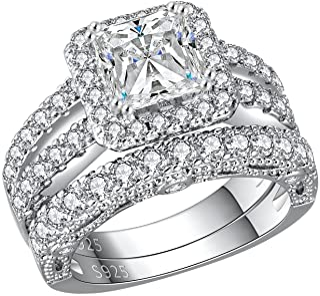 مجوهرات Ahloe 3.5 Cttw الأميرة خواتم الزفاف للنساء خاتم الخطوبة مجموعة العصابات 925 الفضة الاسترليني تشيكوسلوفاكيا حجم 5-10