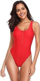 SHEKINI Women's Zipper Front Low Back High Cut One Piece Swimsuit Bathing Suit