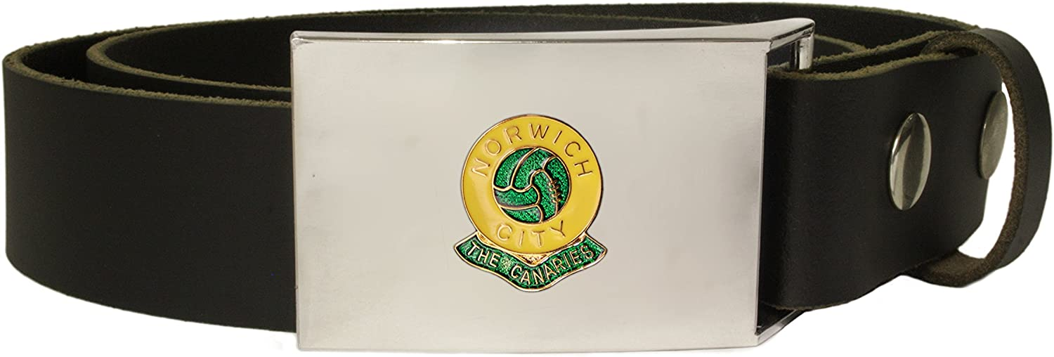 Norwich City football club leather snap fit belt