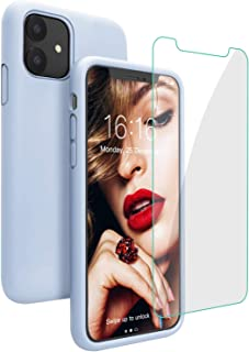 Compatible with iPhone 11 Case, JASBON Liquid Silicone Phone Case with Free Tempered Glass, Soft Gel Rubber Bumper Anti-Slip Protective iPhone 11 Case 6.1 inch for iPhone 11- Light Blue