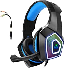 Gaming Headset with Mic for Xbox One PS4 PS5 PC Switch Tablet Smartphone, Headphones Stereo Over Ear Bass 3.5mm Microphone...