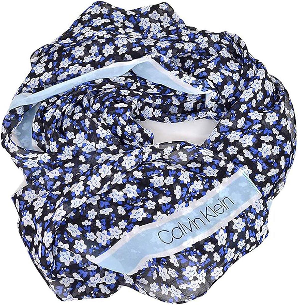 Calvin Klein Womens Floral Stripe Chiffon Scarf (Royal Blue, One Size)