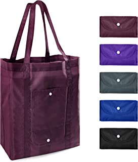 Reusable Grocery Tote Bags with Pocket Bulk 5 Pack XLarge 50LBS Foldable Reusable Shopping Bags with Reinforeced Long Handles Machine Washable Ripstop Polyester Burgandy Purple Black Royal Grey