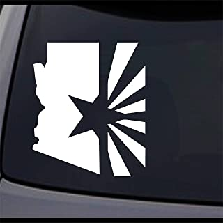 JCM Custom Arizona State Map Flag, AZ Home State Permanent Vinyl Decal, Auto Decorative Stickers, 4Lx3.3W, 2 Pcs