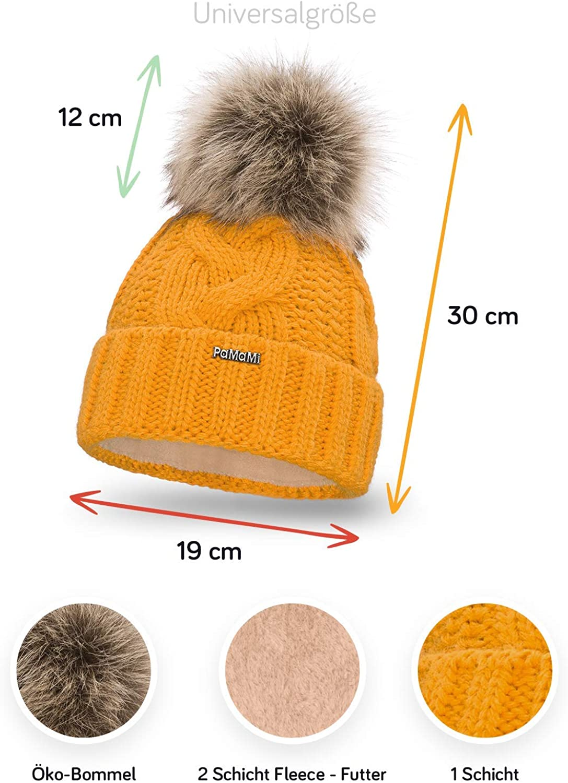 Ein echter Hingucker Waschechter Bayer Bommelm/ütze Damen Bunte Farben Fleeceband Winter