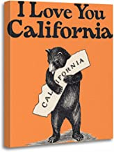 TORASS Canvas Wall Art Print Map I Love You California Bear State Artwork for Home Decor 16