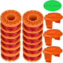 "TOPEMAI WA0010 Replacement Trimmer Spool Line 0.065"" for Worx WG154 WG163 WG160 WG180 WG175 WG155 WG151 String Trimmer (12 Spools + 3 Caps)"