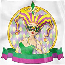 Ambesonne Mardi Gras Party Napkins Set of 4, Harlequin Lady Frame, 12