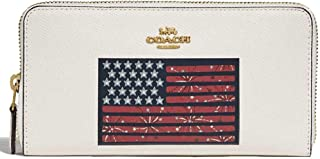 Leather Accordion Zip Wallet in Chalk with United States Flag