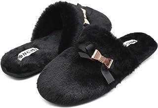 ONCAI Zapatillas Casa Mujer Cálido Felpa Mullido Peludo Alta Densidad Memory Foam Zapatillas De Casa para Mujer Invierno S...