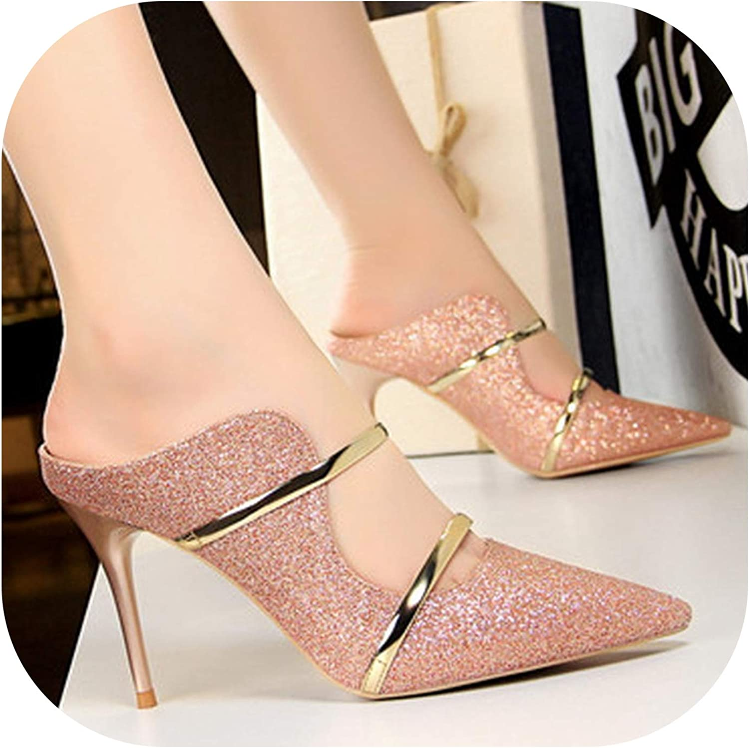 Stiletto Pointed Sequins Ladies Slippers Sexy Baotou high Heels Party weddi,