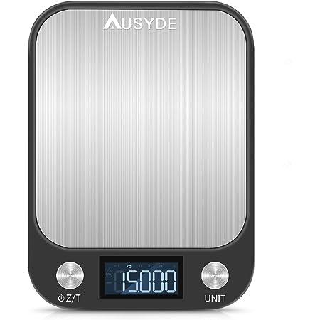 Balance de cuisine numérique AUSYDE - Avec plaques en acier inoxydable - Précision jusqu'à 1 g (pesant 15 kg maximum) - Avec écran LCD - Fonction tare