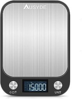 Balance de cuisine numérique AUSYDE - Avec plaques en acier inoxydable - Précision jusqu'à 1 g (pesant 15 kg maximum) - Av...