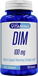 DIM 100mg 200 Capsules - 200 Day Supply - Diindolylmethane DIM Supplement for Support with Healthy Estrogen and Hormone Levels