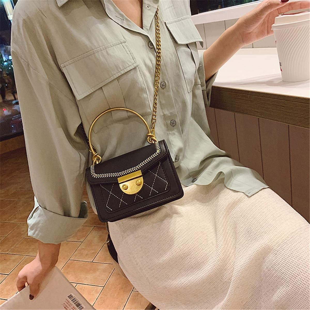 no brand Shoulder Bags Version coréenne de l'épaule Broderie Mode Portable Métal épaule Tendance chaîne Oblique Chic Femmes Sac (Color : Red) Black