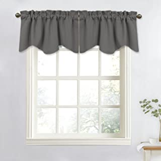 NICETOWN Bedroom Window Blackout Valance - Home Decoration Measures 52 inches Wide by 18 inches Long Scalloped Valance Tier for Kitchen/Living Room (Grey, Sold as 1 Panel)