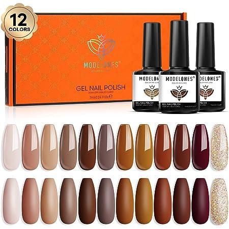 Gel Nail Polish Kit, 12 Pcs Winter Fall Color Gel Polish Set, Nude Brown Gel Nail Kit Collection for Nail Art Salon By Modelones