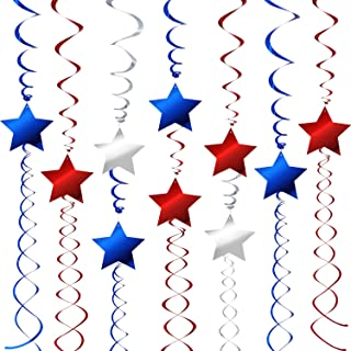 36 Pieces Patriotic Hanging Swirls Decorations Swirls with Star for July 4th Independence Day Memorial Day Veterans Day Christmas Party Supplies, Blue, Red, Silver