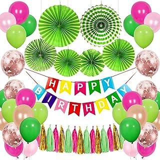 SPECOOL Decoración de cumpleaños, Happy Birthday Guirnalda, Globos Multicolores Bosque Tema Feliz Cumpleaños Decoración, Decoración de la Selva, Fiesta de Carnaval Mexicano