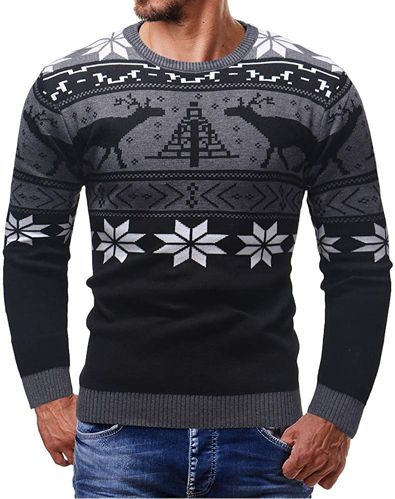 Hoodies for Men Pullover Lightweight, F_Gotal Men Pullover Knitted Printed Christmas Sports Outwear Hooded Sweatshirts