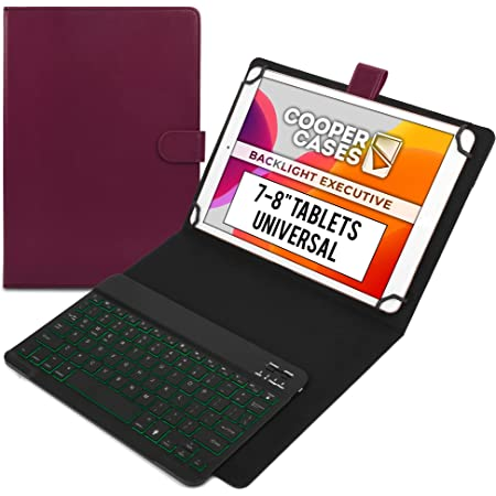 """Cooper Backlight Executive Keyboard Case for 7, 7.9, 8"""" Tablets 