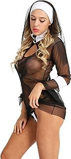 a790b414dd1 YiZYiF Women s 3 Piece Sister Lingerie Set Adult Nun Costume Cosplay Uniform