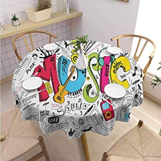 DILITECK Music Terrace Round Tablecloth Pop Art Featured Doodle Style Musical Background with Instruments Sound Art Illustration Picnic Diameter 36″ Multi