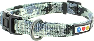 PPawtitas Dog Collar for Small Dogs Camouflage Reflective Training Puppy Collar with Stich - S - Grey Camo