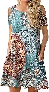 Women Casual Cold Shoulder Floral Print Sundress T-Shirt Dress with Pockets