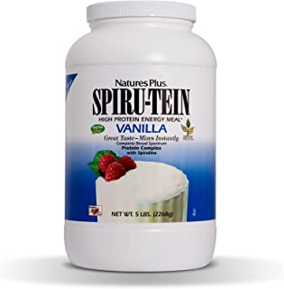 NaturesPlus SPIRU-TEIN Shake - Vanilla - 5 lbs, Spirulina Protein Powder - Plant Based Meal Replacement, Vitamins & Minerals For Energy - Vegetarian, Gluten-Free - 67 Servings