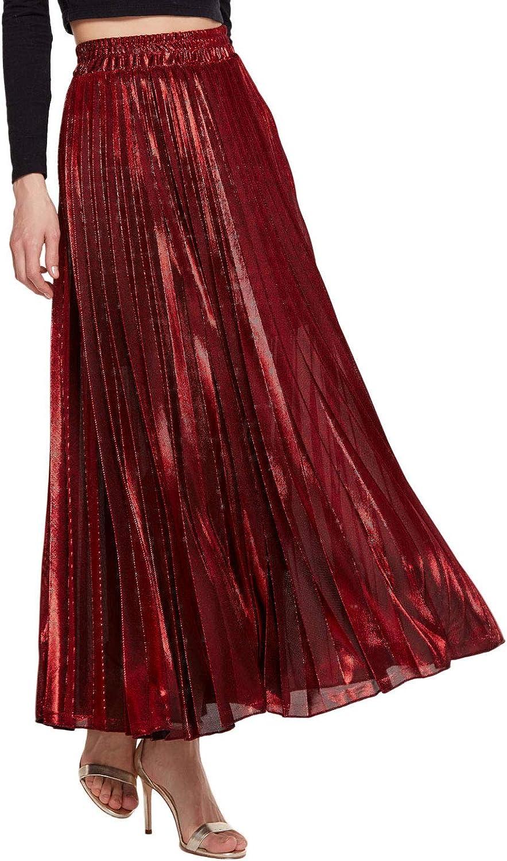 Amormio Women's Glittery gold Silver HighWaist Metallic Accordion Pleated Formal Party Maxi Skirt