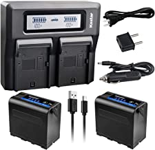 Kastar 2 Pack Battery and LCD Dual Fast Charger for Sony NP-F980 Pro NP-F970 NP-F960 NP-F750 NP-F550 NP-F330 NEX-EA50M NEX-FS100 NEX-FS700R NEX-FS700RH FDR-AX1 PXW-Z100 PXW-Z150 MPK-DVF4 Camcorder