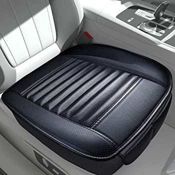 Sunny color 2pc Filling Bamboo Charcoal Edge Wrapping Car Front Seat Cushion Cover Pad Mat for Auto with PU Leather(Black) …