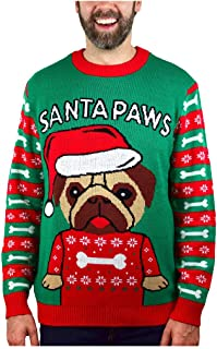 Santa Paws Pug Ugly Christmas Sweater Funny Men Women Festive Holiday Sweater