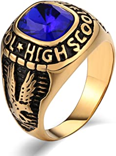 Rings for Men Fashion Rings Stainless Steel Wedding Rings Punk Bands Zirconia Eagle Green/Blue/Black/Red Size 7~12